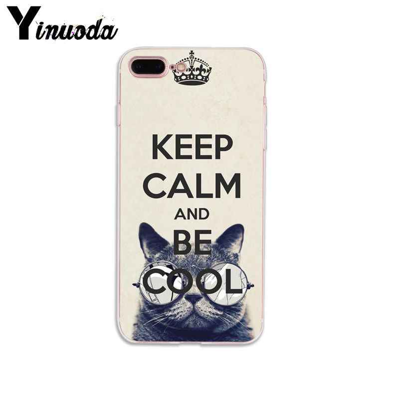 Yinuoda Keep Calm และ Be Cool น่ารักสวยโทรศัพท์มือถือกระเป๋าสำหรับ iphone ของ Apple iphone 8 7 6 6 วินาที plus X XS MAX 5 5 วินาที SE XR โทรศัพท์มือถือกรณี