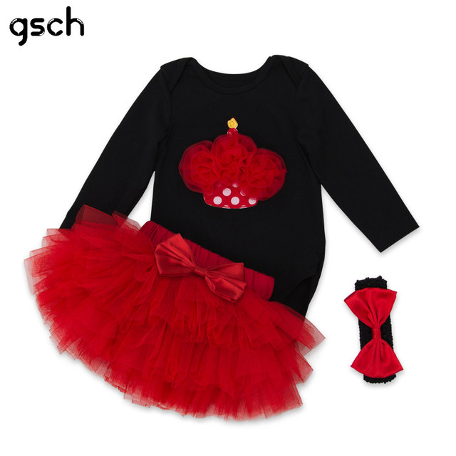 2f2dd6da5b99 GSCH Charistmas Baby Girl Clothes Suit Black Cake Romper + Skirt ...