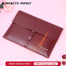 Fashion strap Full Grain Leather sleeve for iPad Pro 10.5 11 inch Air 3 2019 2018 case cover wine Ladies Clutch Bag protective