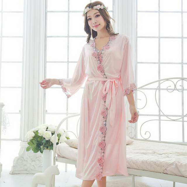Free shipping women Champagne Embroidery nightdress pajamas plus size robe sets long Sleepwear nightgown night dress M1811-2