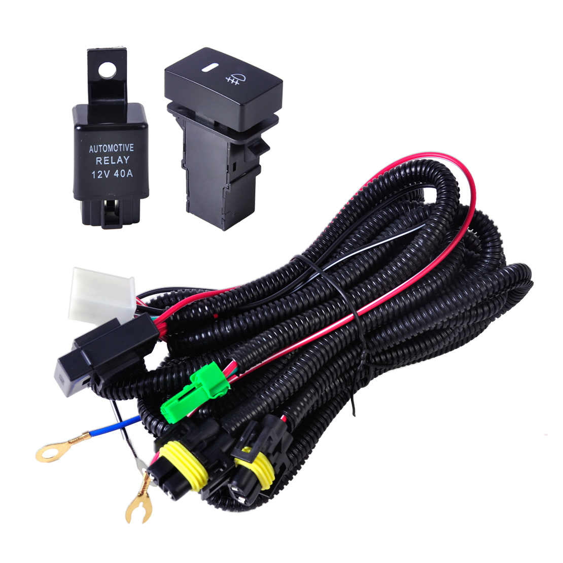 small resolution of  citall h11 fog light lamp wiring harness sockets wire switch with led indicators automotive relay