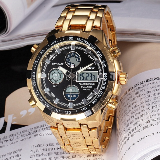 QUAMER Chic LCD Multifunctional Analog-Digital Quartz Analog Watch With Stainless Steel Band for Men Waterpoof Watches Fashion