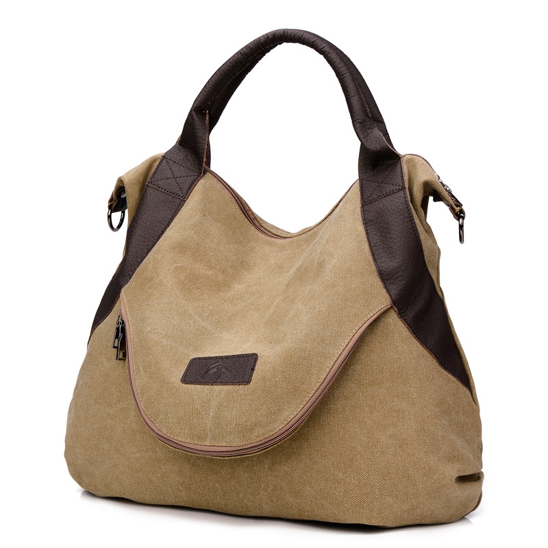 Retro Handbag Large Pocket Casual Tote Women's Handbag Shoulder Handbags Canvas Leather Capacity Bags For Women Bolsas Sac