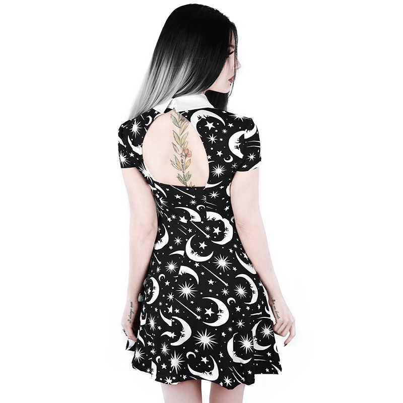 Готическое Плиссированное женское платье с принтом звезды луны, воротник-ручка, сексуальные открытые, на тонком каблуке, тонкие черные платья для вечеринки, клуба, мини-платье для девушек