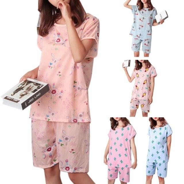 New 2 Pcs Women Sweet Girls Summer Short Sleeve Sleepwear Cartoon Plus Size Female Casual Round Neck Pajamas Set Loose 5 Styles