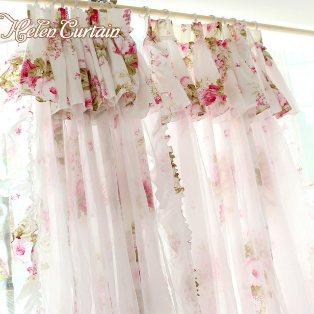 Helen Curtain American Style Flower Curtains For Living Room 2 Layers Door  Short Kids Curtains Girlu0027s