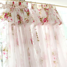 Helen Curtain American style flower curtains for living room 2 layers door short kids curtains girl's pink kitchen curtains 017