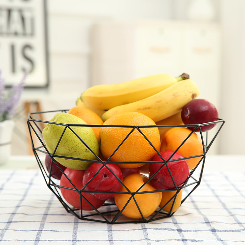 US $12.75 39% OFF|Casegrace New Design Black Iron Fruit Basket Bird Nest  Serving Tray Metal Hollow Snack Food Storage Basket Kitchen Tool-in Storage  ...