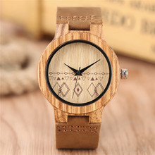 Creative Rhombus Handmade Bamboo Wooden Watches Natural Women's Analog Quartz Watch Brown Leather Strap Reloj Madera Hombre