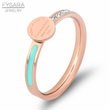 FYSARA Stainless Steel Forever Love Enamel Blue & Crystals Ring For Women Luxury Round Tag New York Female Finger Ring T Jewelry(China)