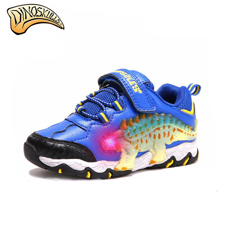 $36.45 Dinoskulls Children Boys Shoes Kids Glowing Sneakers Light Up Shoes Toddler Boy Sneakers Outdoor Sports Running Trainers 27-34