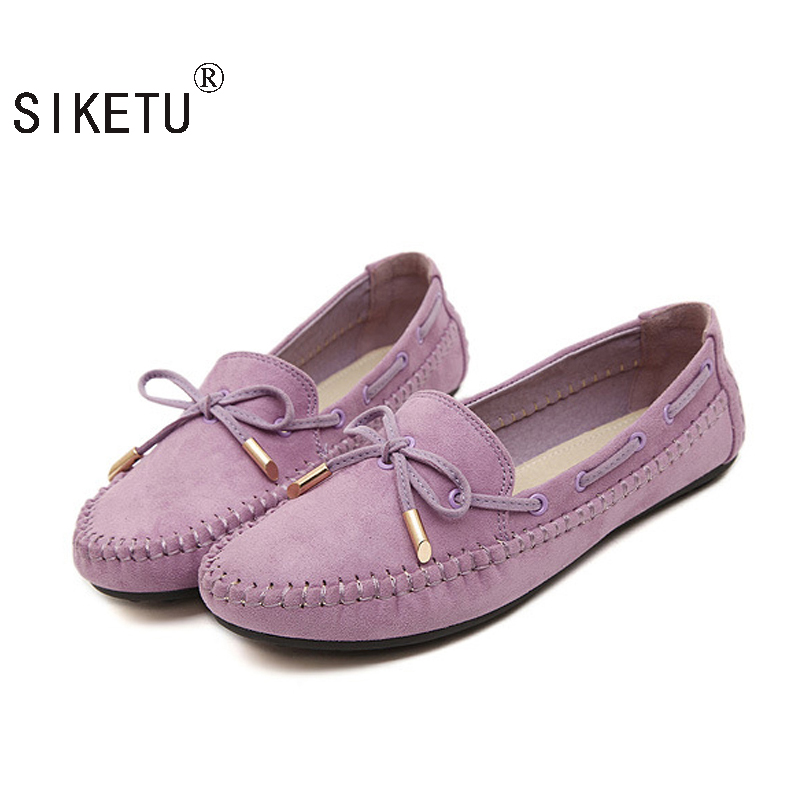SIKETU Woman Flats Elegant Bowtie Soft Sole Loafers Slip-on Spring Autumn Shoes Woman OL Shoes Size Plus 35-41 siketu best gift baby flats tassel soft sole cow leather shoes infant boy girl flats toddler moccasin bea6624