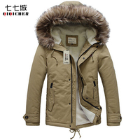 2017 Army Green Thick Warm Mens Winter Parka With Fur Hood Slim Fit Casual Lambswool Liner
