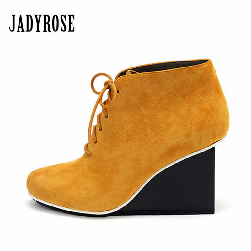 Jady Rose Fashion Yellow Women Ankle Boots Suede Strange Heel Lace Up Botas Mujer High Heel Wedge Shoes Woman Women Pumps woman wedge heel ankle boots 2015 the latest autumn winter fashion zipper pumps boots cross straps woman wedge heel ankle boots