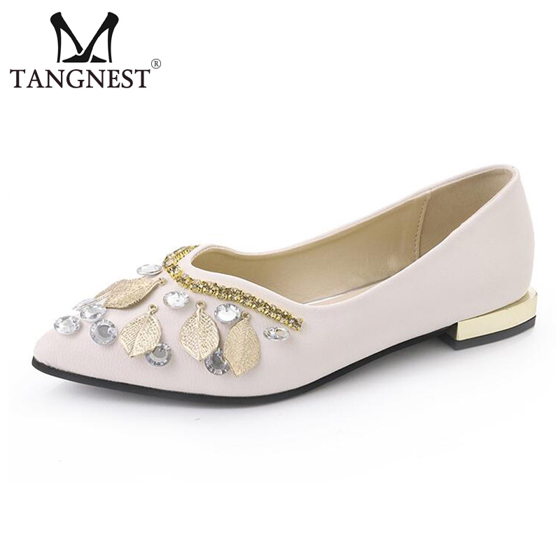 Tangnest Bling Women Ballet Flats NEW 2017 Autumn Shallow Flat Shoes Fashion Crystal Pointed Toe PU Leather Flats Woman XWD5978 new listing pointed toe women flats high quality soft leather ladies fashion fashionable comfortable bowknot flat shoes woman