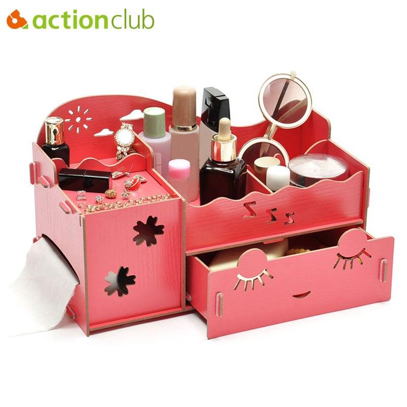 Actionclub деревянная коробка для хранения ювелирных изделий контейнер для хранения косметичка ручной работы DIY сборка косметический Органайзе