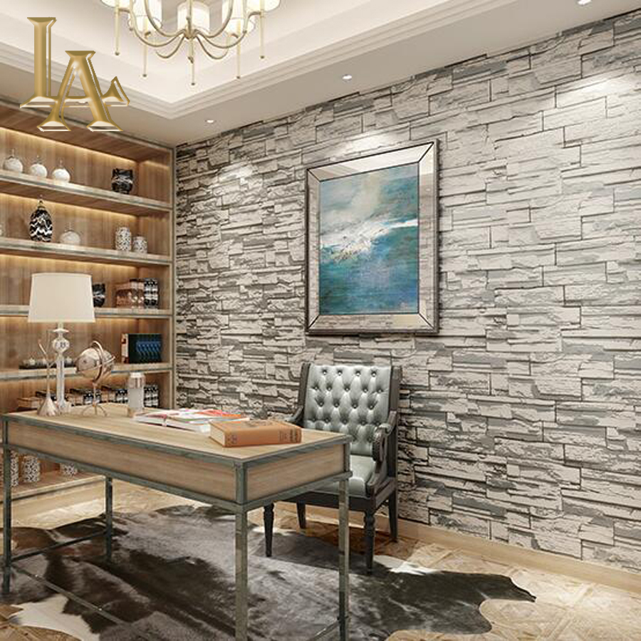 Buy yellow grey stone brick wallpaper for for Grey brick wallpaper living room