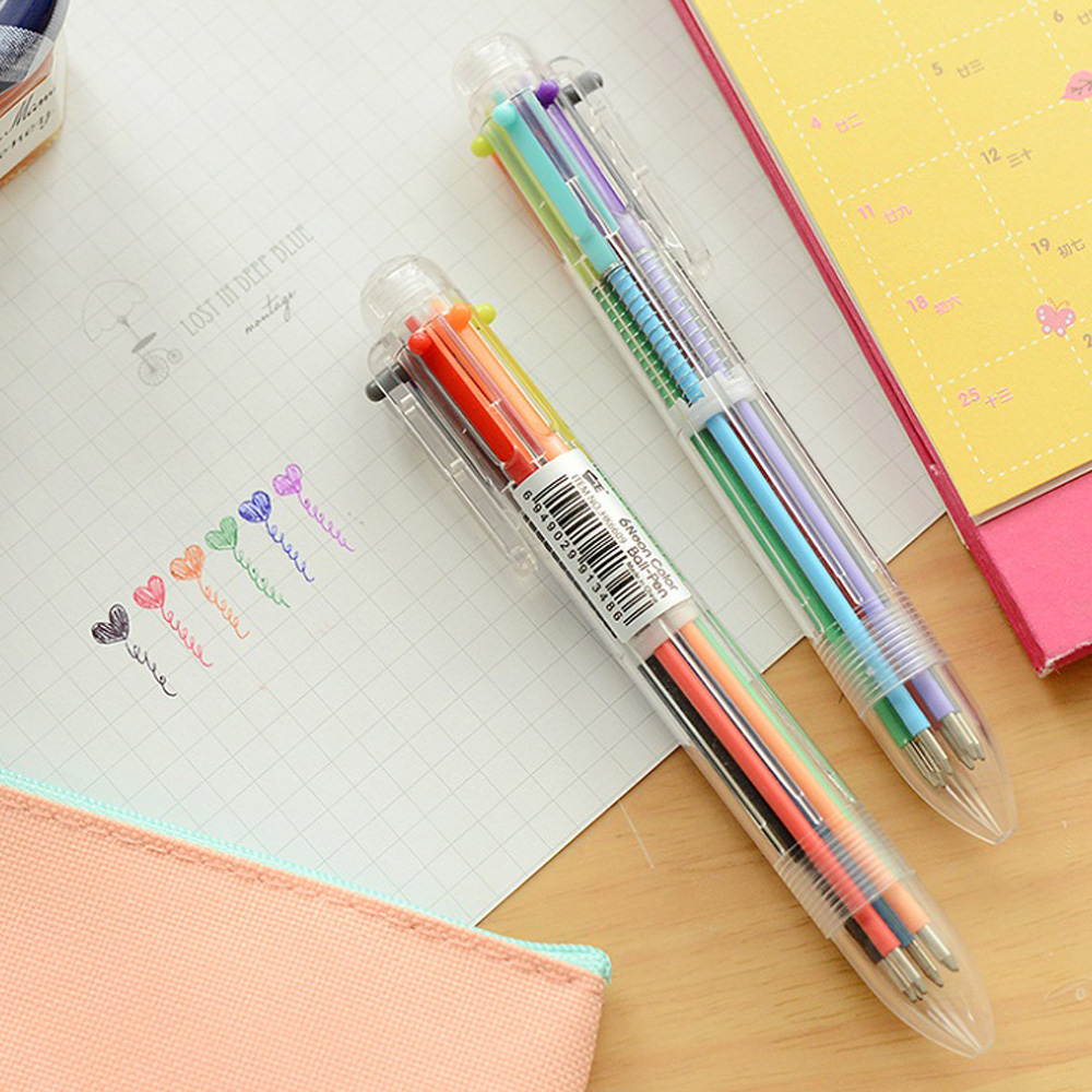 1PCS Colorful 6 In 1 Ballpoint Pen 0.5mm Creative Novelty Multicolor Pens School Stationary Kids Gift Home Office Supplies