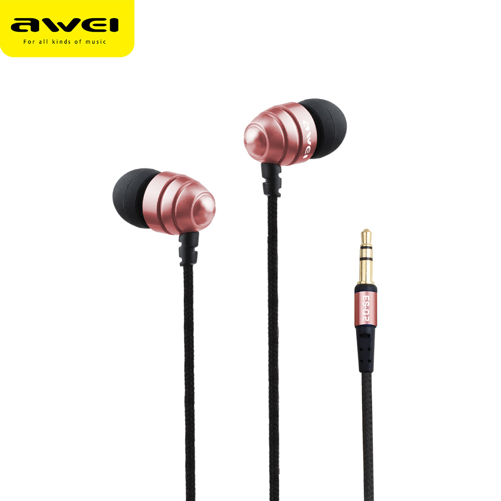 AWEI ES-Q2 Stainless Steel 3.5mm Headset In-Ear Stereo Music Vibrate Deep Bass 1.2m Earphones Earbud W/ Integrated Microphone