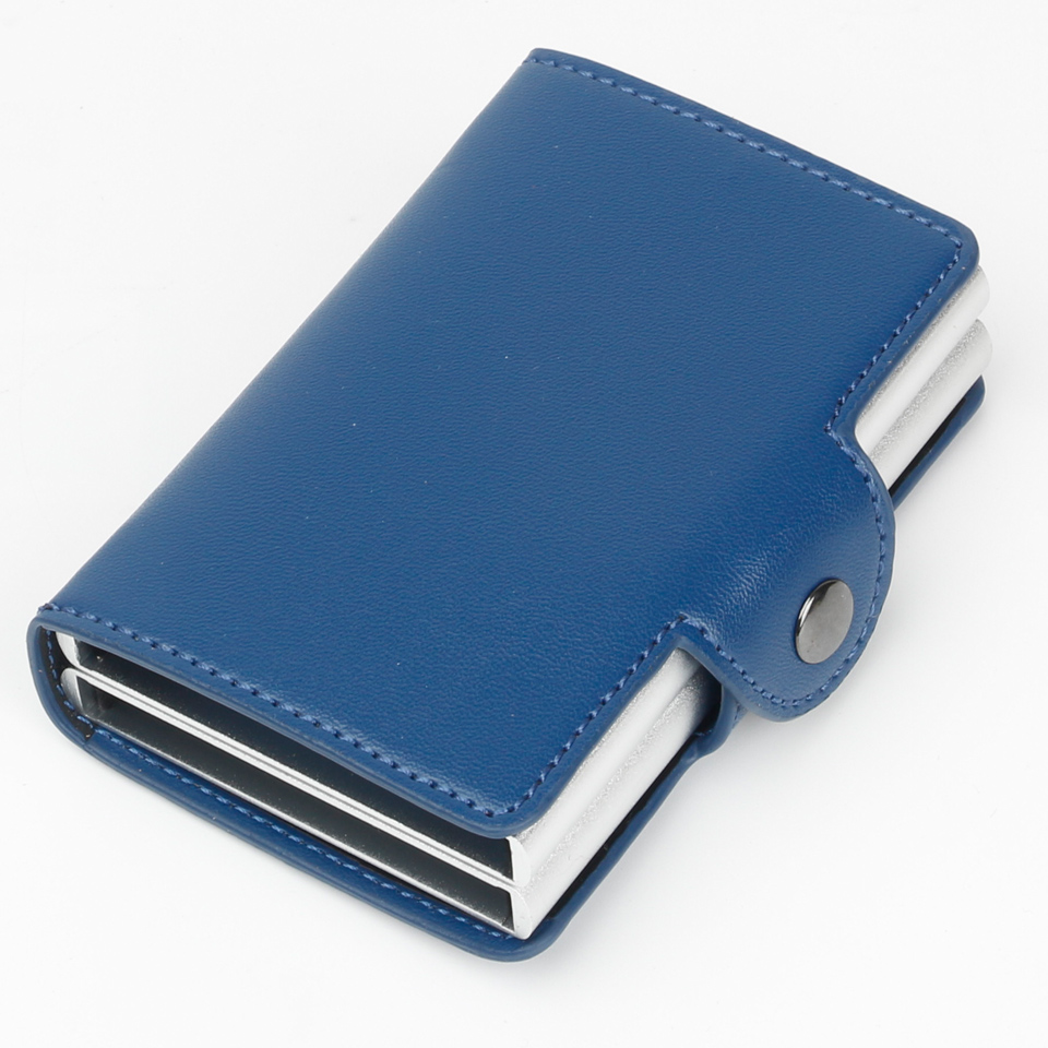 Limited Edition RFID Credit Card Holder PU Leather Slim Wallet Double Box Aluminum CardHolder Small Antimagnetic Purse