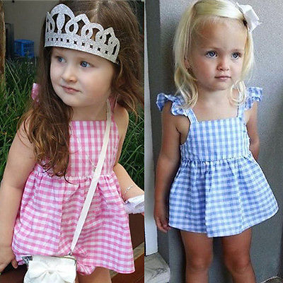 summer 2pcs suit!! cute baby girls clothes plaids sleeveless tops +briefs ruffles bow outfits sunsuit clothes