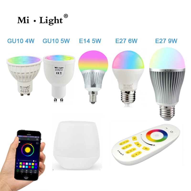 Milight Led Bulb 4W 5W 6W 9W GU10 E27 E14 RGBW RGBWW Lamps Wireless Wifi Controller Box 4-Zone 2.4G RF Remote Controller 4x mi light gu10 4w rgbw or rgbww wifi compatible led bulb lamp ac85 265v 4 zone 2 4g rf wireless touch remote controller