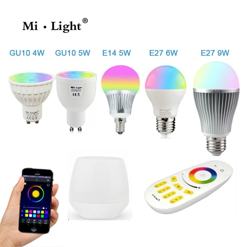 Milight bombilla Led 4 W 5 W 6 W 9 W GU10 E27 E14 RGBW RGBWW lámparas controlador Wifi inalámbrico caja 4-zona 2,4g RF