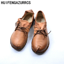 HUIFENGAZURRCS-2018 new spring Mori girl soft bottom leisure shoes Genuine leather handmade shoes Japanese retro shoes,4 colors