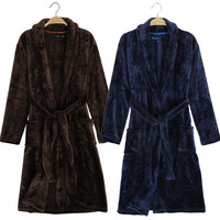 2016 New Arrival Men Terry Bathrobe Winter Soft Avaliable Bath Robe High Quality Flannel Warm Navy