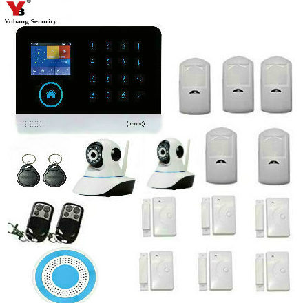 YobangSecurity Android IOS APP GSM Wifi RFID Home Alarm Security System Wireless Strobe Siren Indoor IP Camera PIR Motion Sensor yobangsecurity gsm wifi burglar alarm system security home android ios app control wired siren pir door alarm sensor