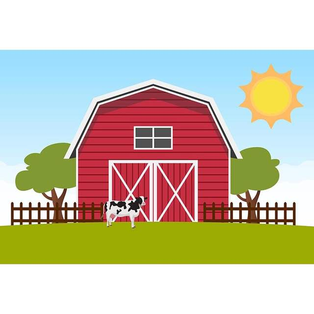Us 8 34 39 Off Mehofoto Red Barn Kids Photo Background For Pictures Barnyard Cartoon Farm Rural Backdrop For Photography Photo Booth In Background