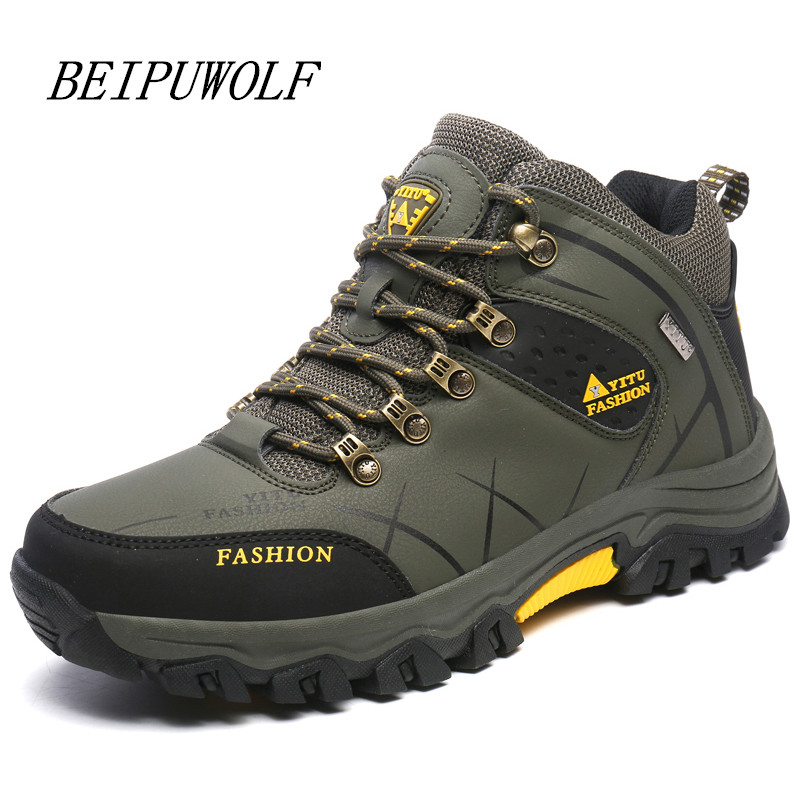 ФОТО Plus Size 39-45 46 47 Men's Hiking Shoes High Top Spring New Hiking Boots Non-slip Comfortable Outdoor Mountain Trekking Shoes