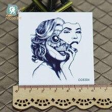 6X6cm Little Vintage Old School Style Black Skull Women Temporary Tattoo Sticker Body Art Water Transfer Fake Taty