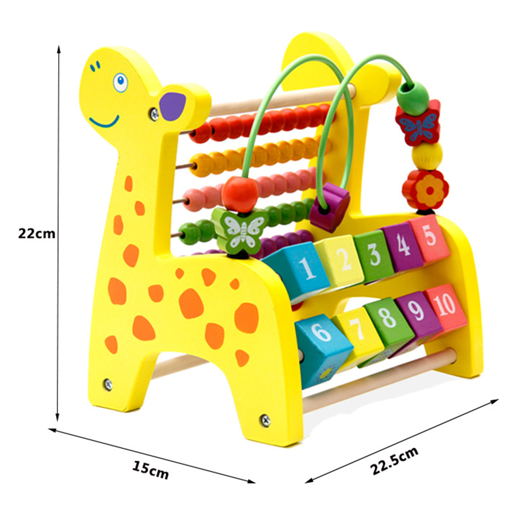 3 in 1 Kid Wooden Fawn Developmental Toy Revolving Number Blocks & Abacus & Beads Maze Puzzle Educational Children Toys modalu london mh6151 fawn