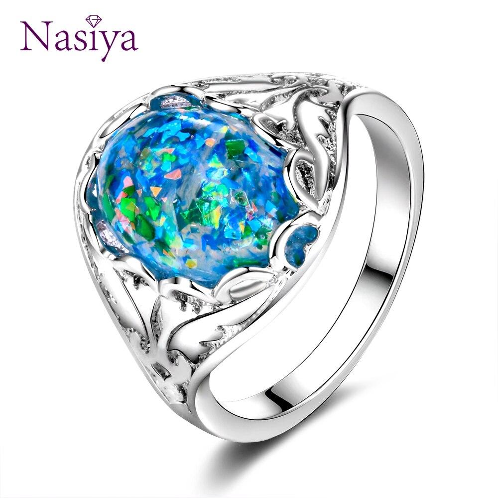8a828fc2b2ae Top marca Opal anillos de plata esterlina 925 joyas anillo Fancy regalo de  aniversario para las mujeres 10x14mm bisel configuración piedras tamaño 6-10