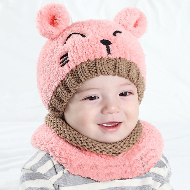 6d16096a533 MOLIXINYU 2Pcs lot Toddler Infant Baby Girls Boys Warm Hat Scarf Set Kids Winter  Hat Scarf Ear Knitted Baby Hat For Boys Girls