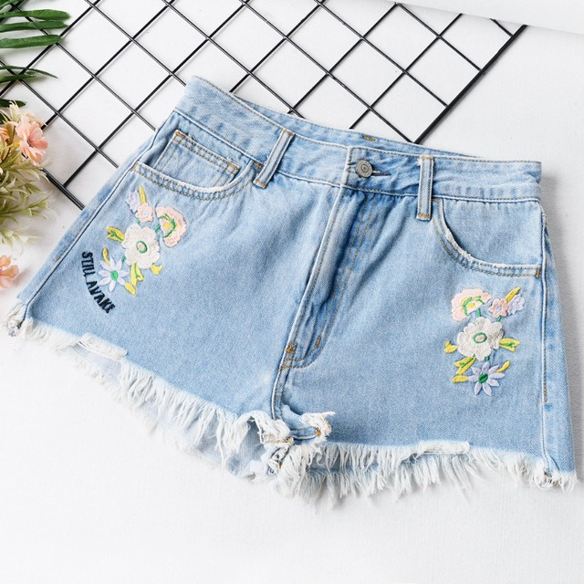 New Fashion Summer Women's Denim Shorts Embroidery High Waist Tassel Slim Fit Micro Short Jeans
