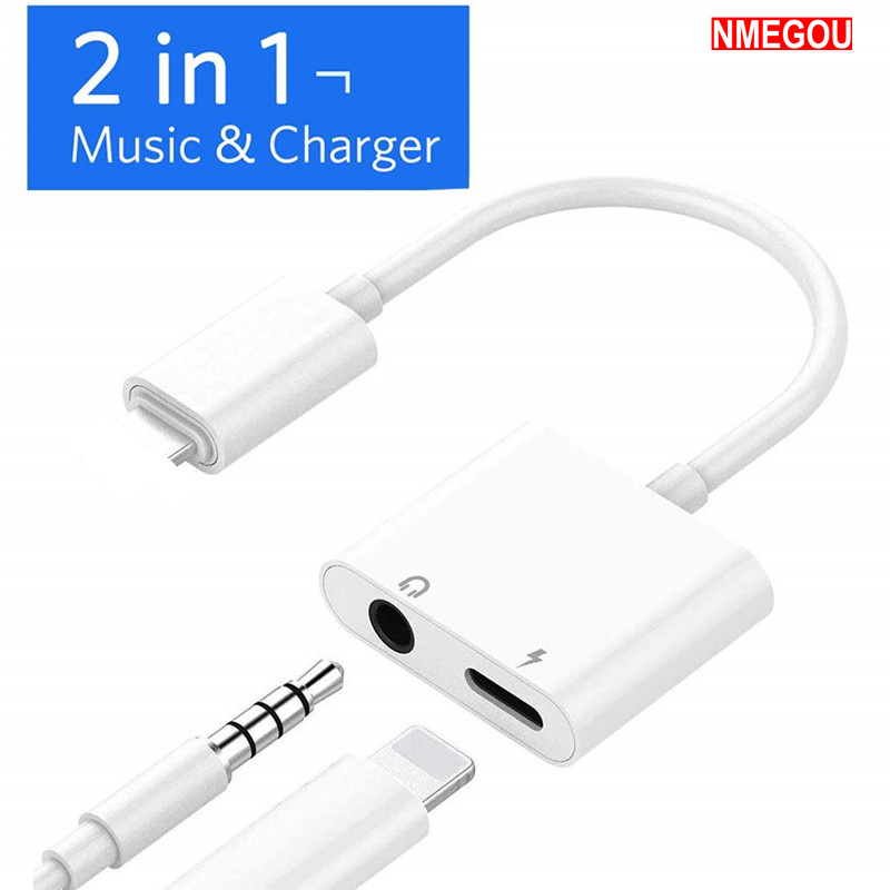 <font><b>2</b></font> <font><b>In</b></font> <font><b>1</b></font> Earphone Charger Splitter <font><b>Adapter</b></font> <font><b>for</b></font> Apple <font><b>IPhone</b></font> X 10 7 8 9 Plus <font><b>3.5mm</b></font> <font><b>Headphone</b></font> Charging 3.5 Jack Aux Cable Converter image