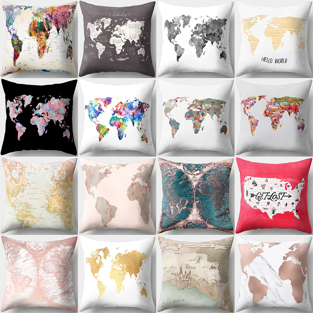 Vintage Colorful World Map Style Pattern Cushion Cover Polyester Peach skin Pillow Case Home Decor For Car Sofa Chair 45*45cm