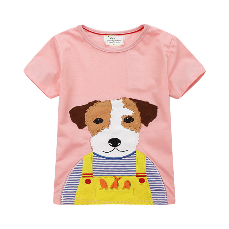 Jumping meters new designed baby girls t shirt girls new style cartoon short sleeve t shirt with applique a lovely dog contrast lace applique t shirt