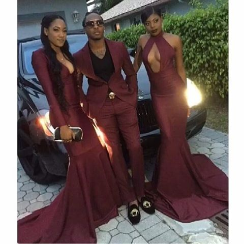 0ef8b5ee75 Mermaid Sexy Deep V Neck Long Sleeve Burgundy Prom Dresses 2017 For Black  Girls Robe De Soiree Evening Dress-in Prom Dresses from Weddings   Events  on .