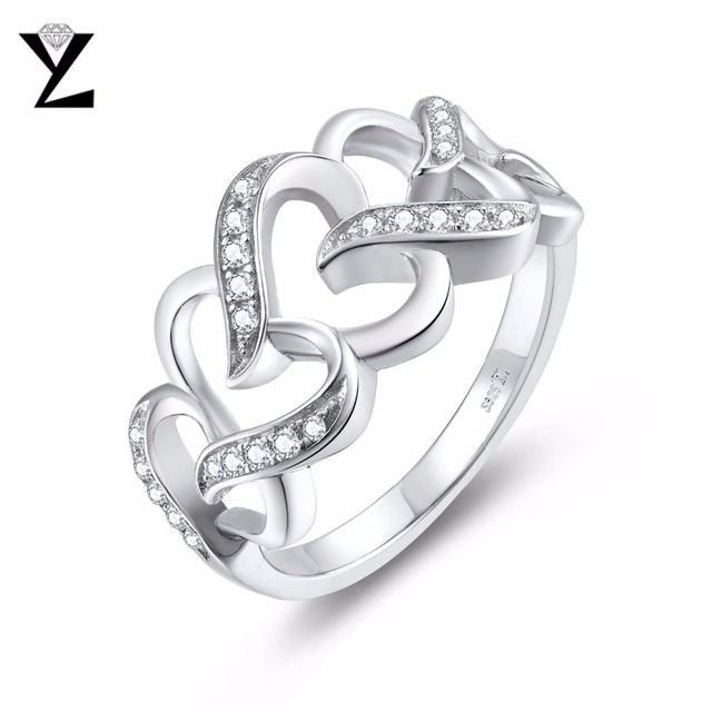 Yl Real Pure Silver Heart Love 925 Sterling Engagement Rings Wedding S Promise For