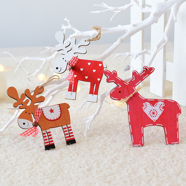 New Arrival 5 colors 12cm wood creative Christmas moose Christmas tree  pendant color reindeer ornaments Christmas - New Arrival 5 Colors 12cm Wood Creative Christmas Moose Christmas
