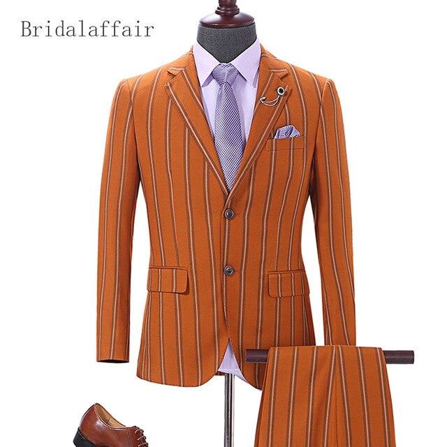 Bridalaffair 2018 Men Suit Printed Striped Mens Suits Wool Blend Orange Groom Prom Wedding Tuxedo Fashion