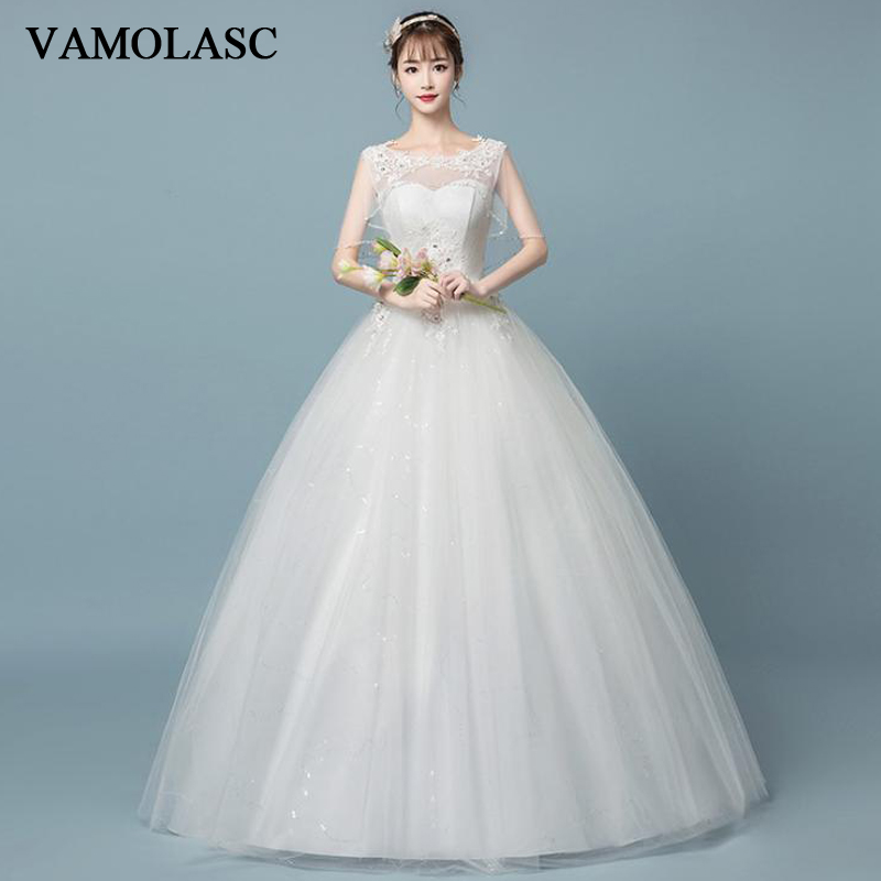 VAMOLASC Illusion Crystal O Neck Lace Appliques Ball Gown Wedding Dresses Sequined Tank Backless Bridal Gowns