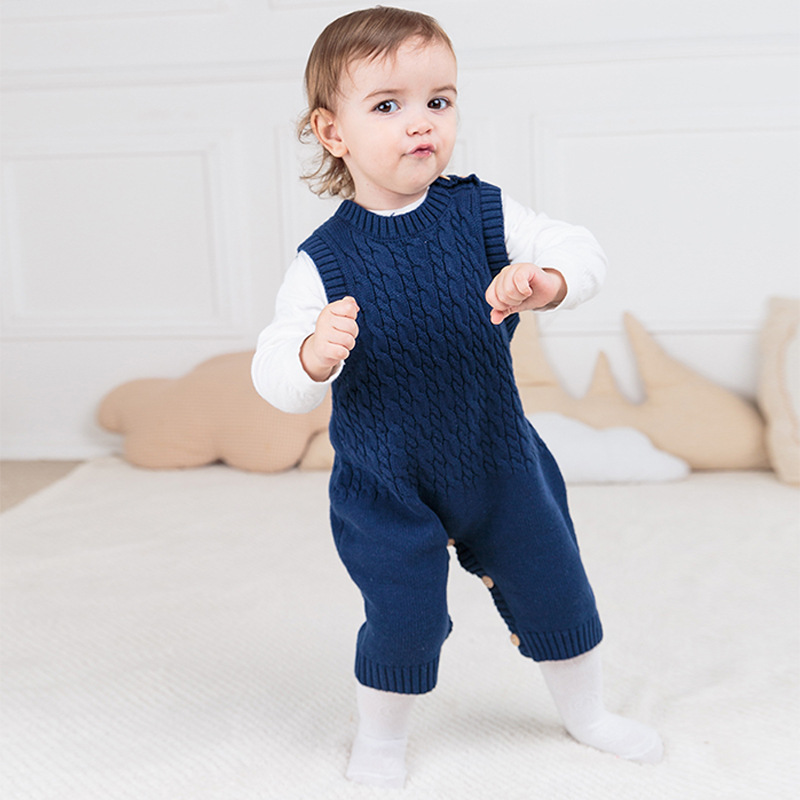 Newborn Baby Gray Knitting Rompers Children Toddler Infant Jumpsuit 2017 New Kids Autumn Spring Warm Overalls Ropa Bebes Clothes