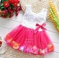 Summer Baby Girls Chiffon Girl Flower Rose Petal Hem Dress Candy Color Cute Casual Dress Vestidos Infant 1-2 years tutu Dresses