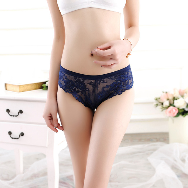 Floral Lace Low Waist Transparent Panties