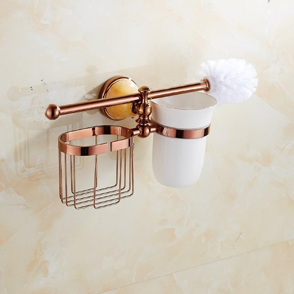 A1 European bathroom hardware pendant rose gold toilet brush holder set bathroom ceramic toilet cup LO731528 simple bathroom ceramic wash four piece suit cosmetics supply brush cup set gift lo861050