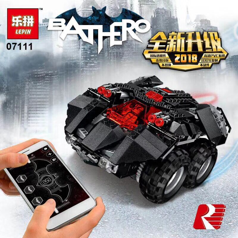 LEPIN 07111 360Pcs Compatible Legoing Batman Chariot 76112 Building Blocks Bricks Smart Bat Remote Control Car Educational Toys decool 7108 batman chariot superheroes bat tank building block 506pcs diy educational toys for children compatible legoe